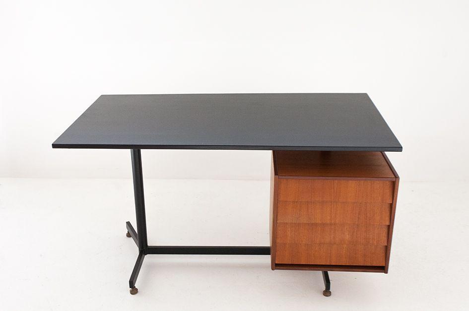 Swedish design teak and iron desk 1950s for sale at pamono for Swedish design desk