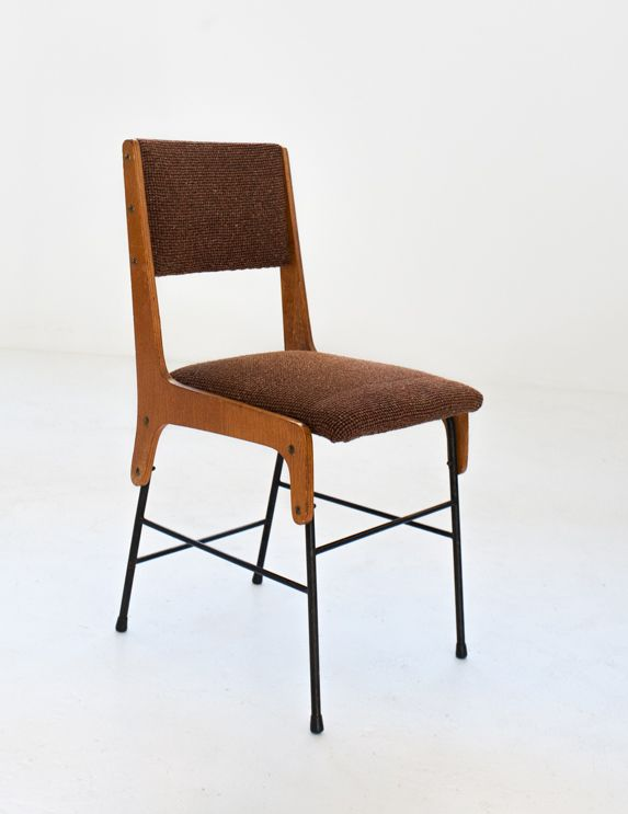 Vintage italian upholstered dining chairs 1950s set of 6 for Upholstered dining chairs for sale