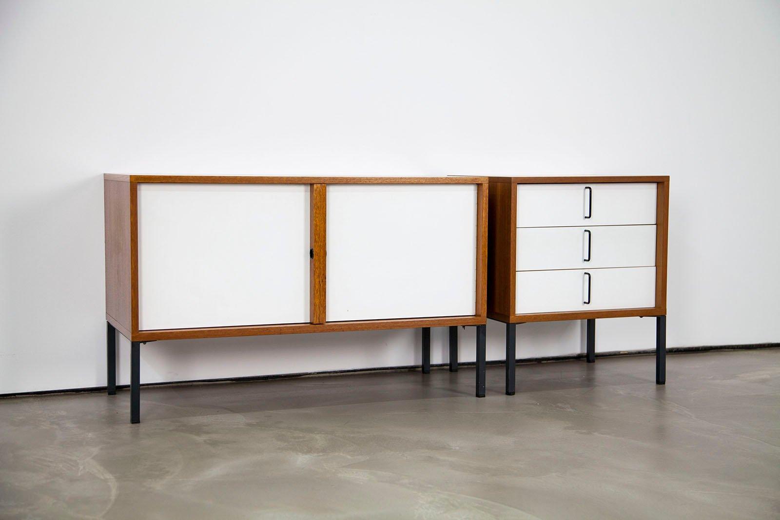 mid century modernes sideboard aus teakholz resopal von. Black Bedroom Furniture Sets. Home Design Ideas