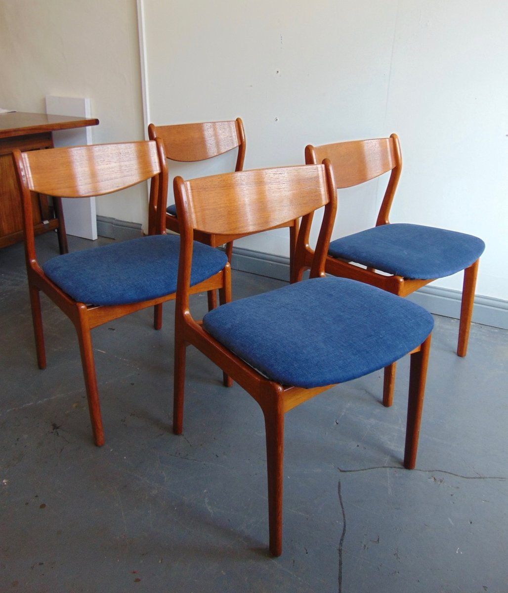 vintage teak dining chairs by pe jorgensen for farso stolefabrik set of 4