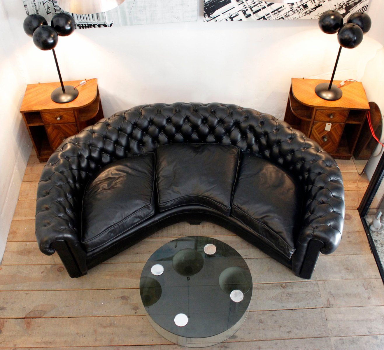 Curved Black Leather Chesterfield Sofa For Sale At Pamono