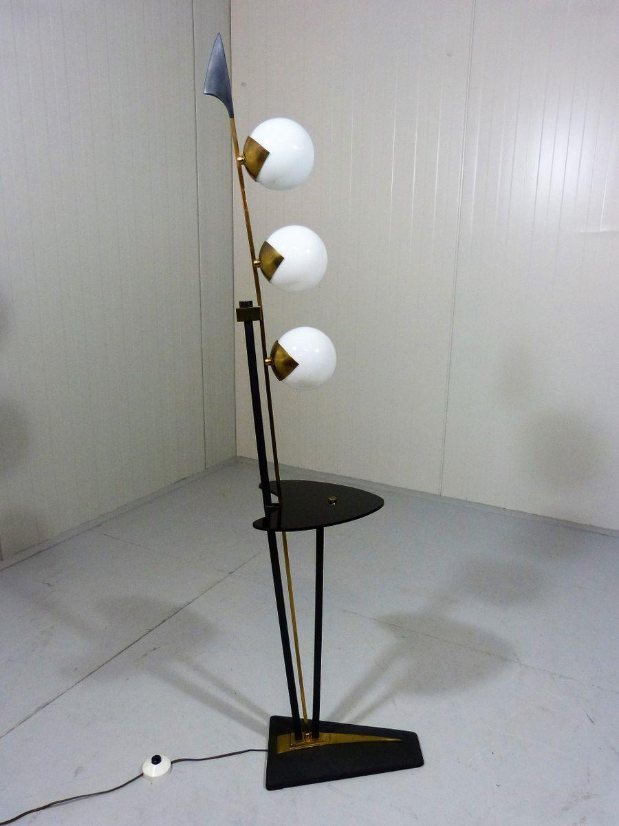 italienische vintage stehlampe mit kleiner ablage von. Black Bedroom Furniture Sets. Home Design Ideas