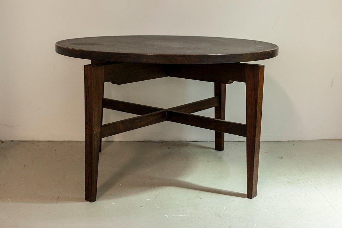 runder tisch aus palisander und linoleum von jens risom bei pamono kaufen. Black Bedroom Furniture Sets. Home Design Ideas