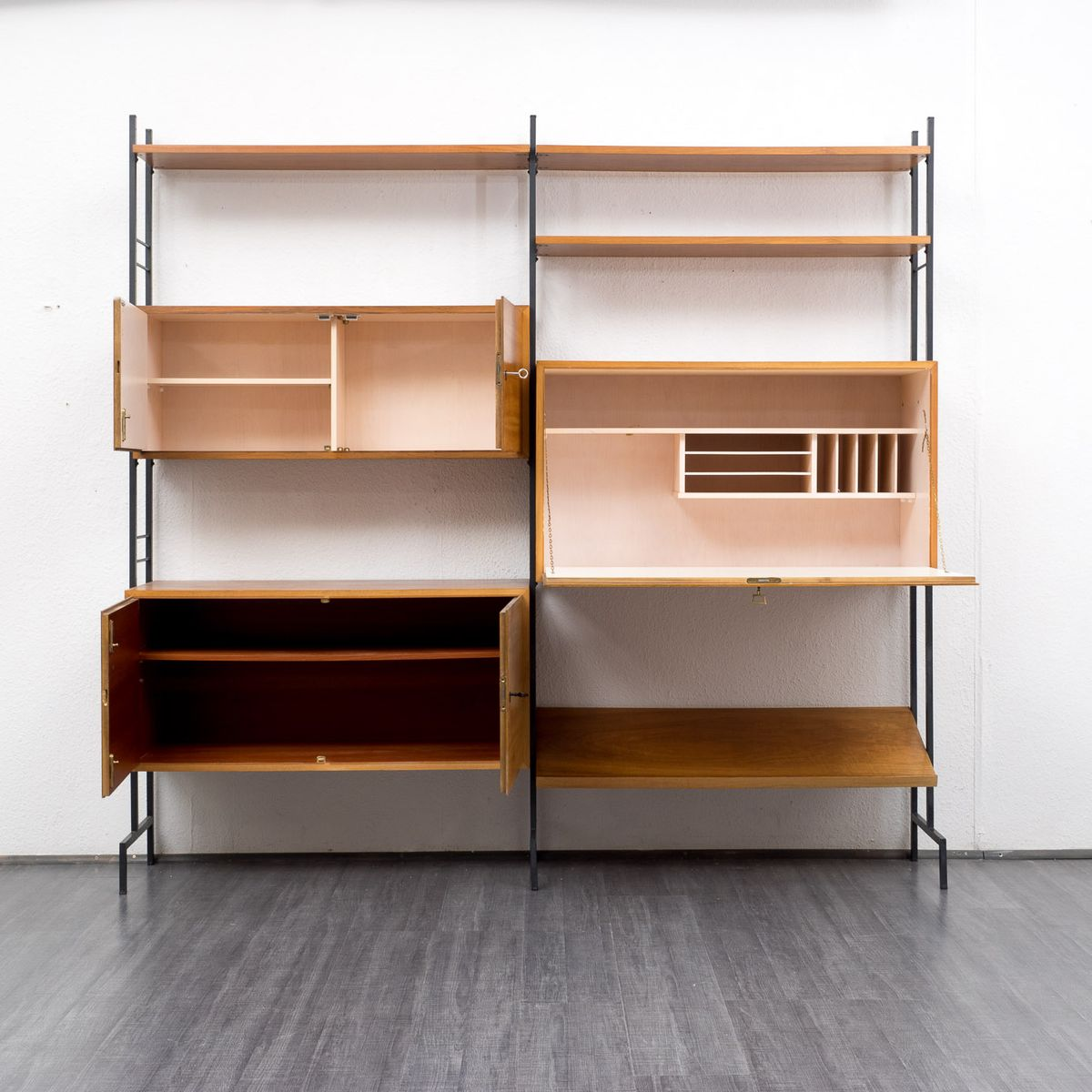 Free Standing Shelving System With Secretary For Sale At