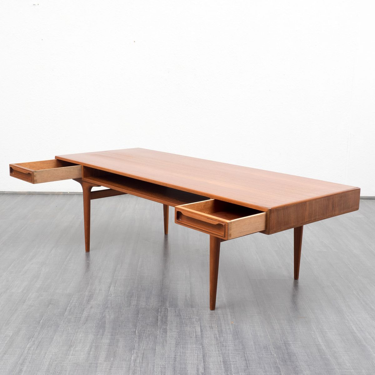 Vintage Teak Coffee Table with Two Drawers for sale at Pamono