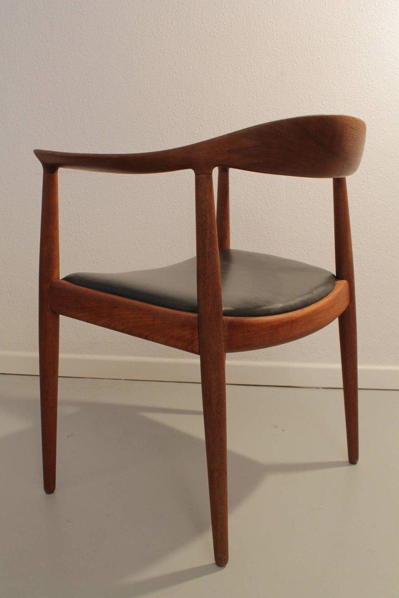 stuhl aus teakholz mit runder r ckenlehne von hans j wegner f r johannes hansen 1950er bei. Black Bedroom Furniture Sets. Home Design Ideas