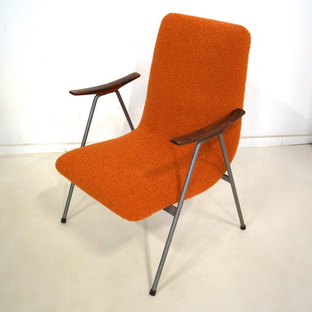 Vintage Dutch Easy Chair with Wooden Armrests for sale at Pamono