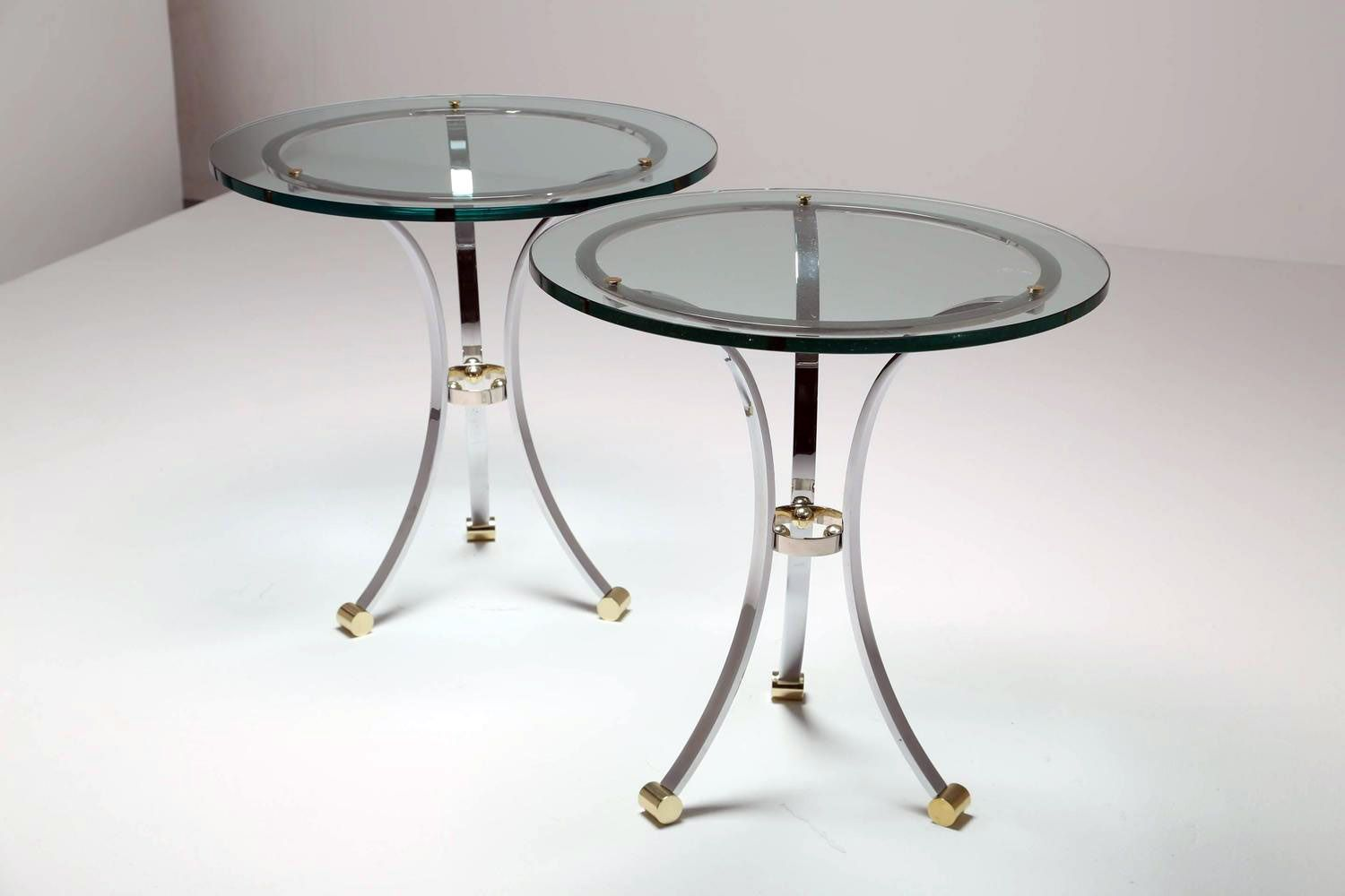 glass side tables with chrome bases set of  for sale at pamono - glass side tables with chrome bases set of