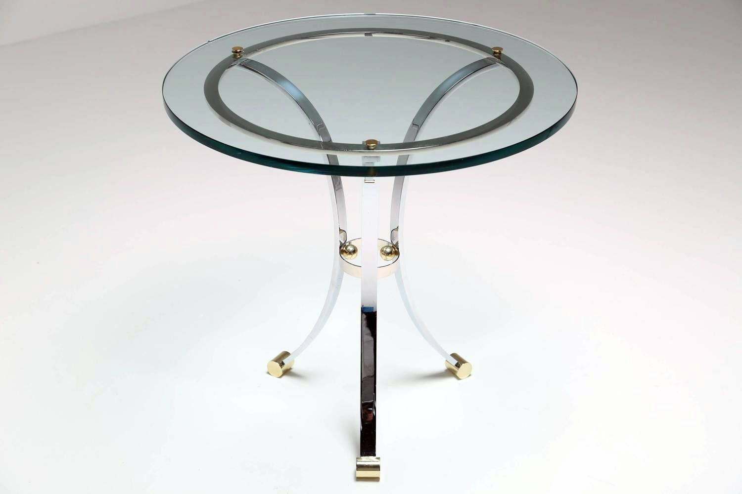 glass side tables with chrome bases set of  for sale at pamono - price per set