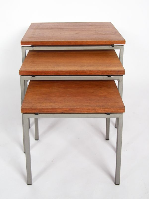 Mid century metal and teak nesting tables set of for