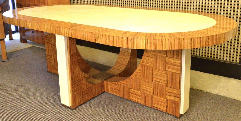 italienischer art deco esstisch aus zebrano holz 1930 bei. Black Bedroom Furniture Sets. Home Design Ideas