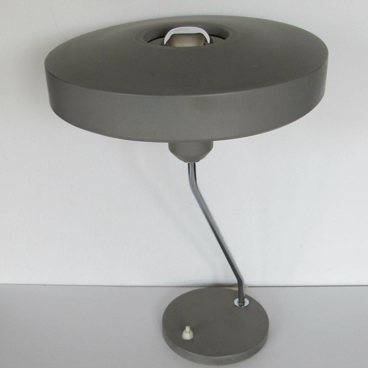 graue metall schreibtischlampe von louis kalff f r philips 1950er bei pamono kaufen. Black Bedroom Furniture Sets. Home Design Ideas