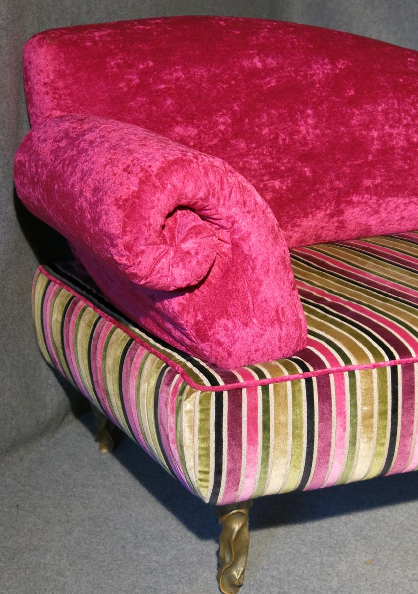 Pink italian art deco velvet chaise lounge for sale at pamono for Art deco style chaise lounge