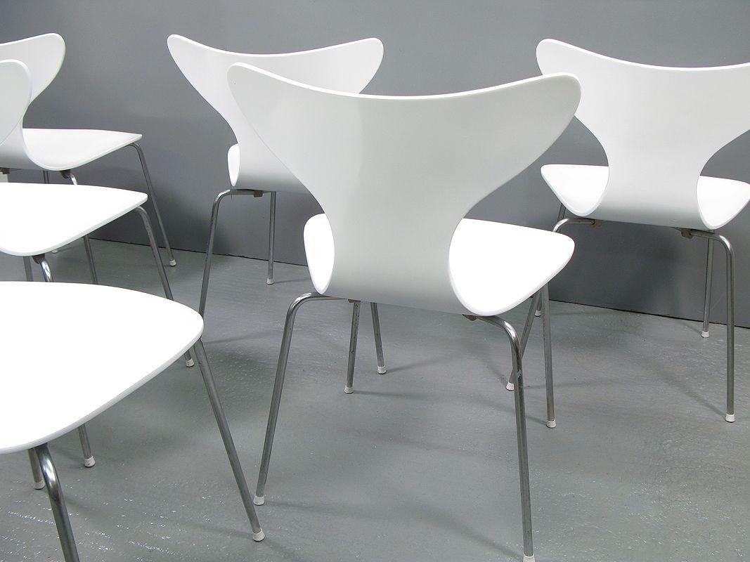 seagull st hle von arne jacobsen f r fritz hansen 6er set. Black Bedroom Furniture Sets. Home Design Ideas