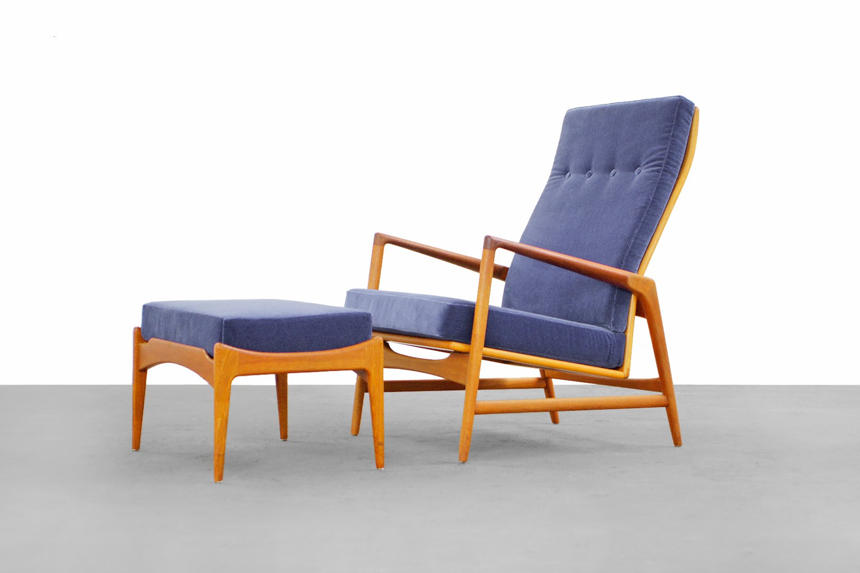 This sculptural pair of lounge chairs by ib kofod larsen is no longer - Danish Modern Lounge Chair Ottoman By Ib Kofod Larsen For Selig