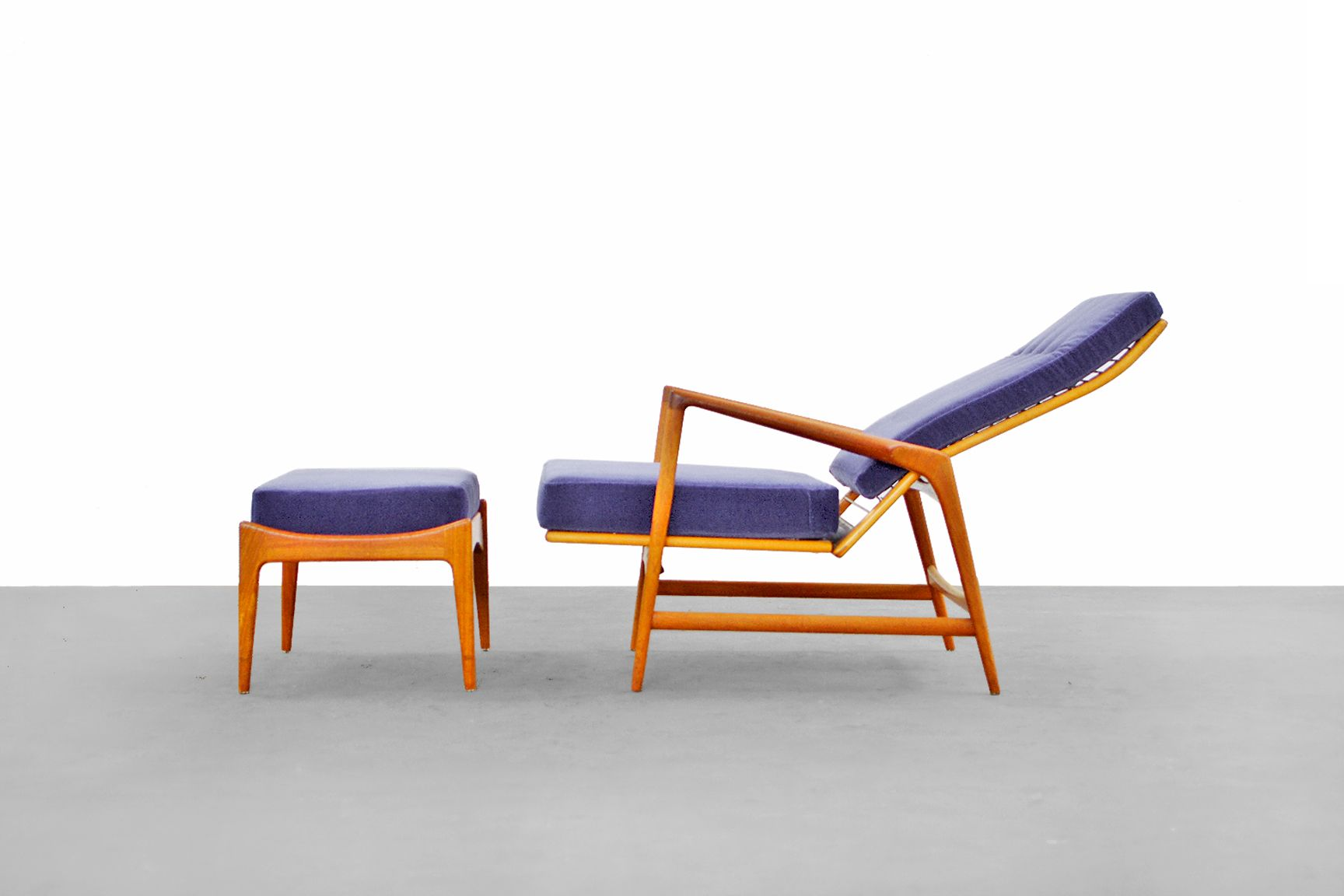 Danish Modern Lounge Chair & Ottoman by Ib Kofod Larsen for Selig for sal