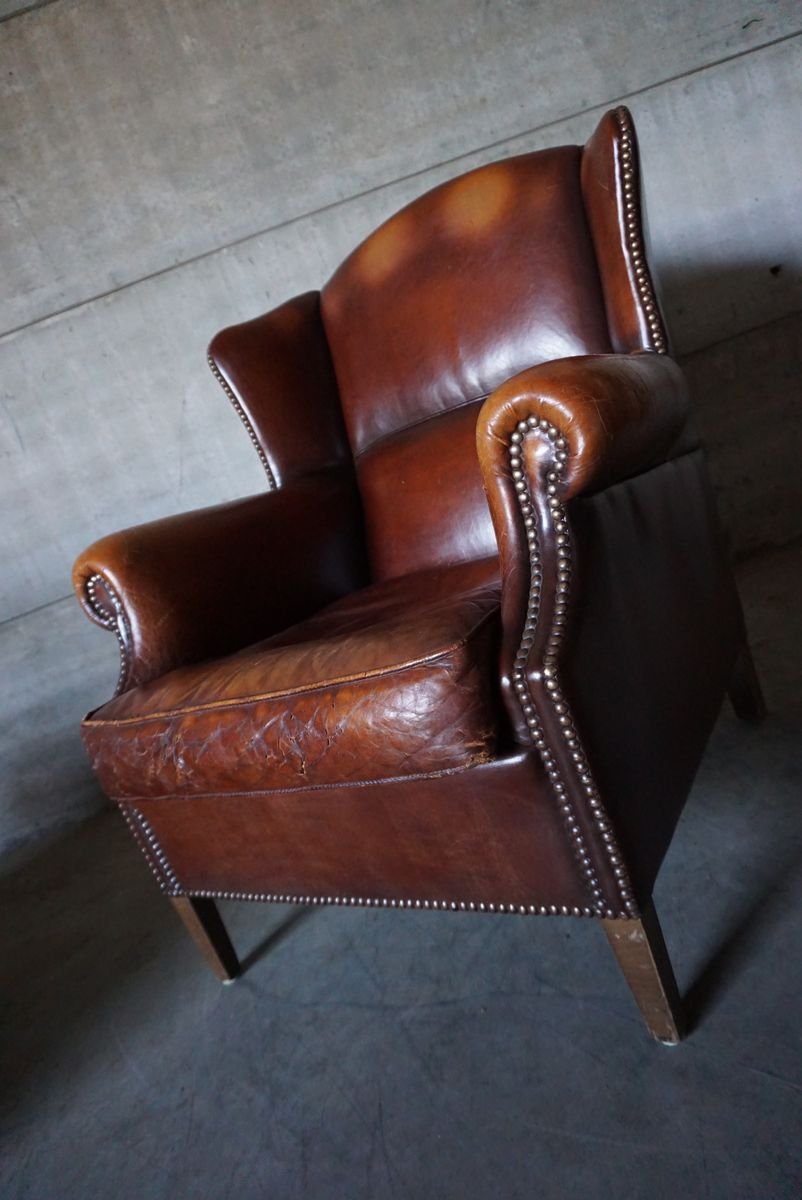 Vintage Brown Leather Club Chair 1950s for sale at Pamono