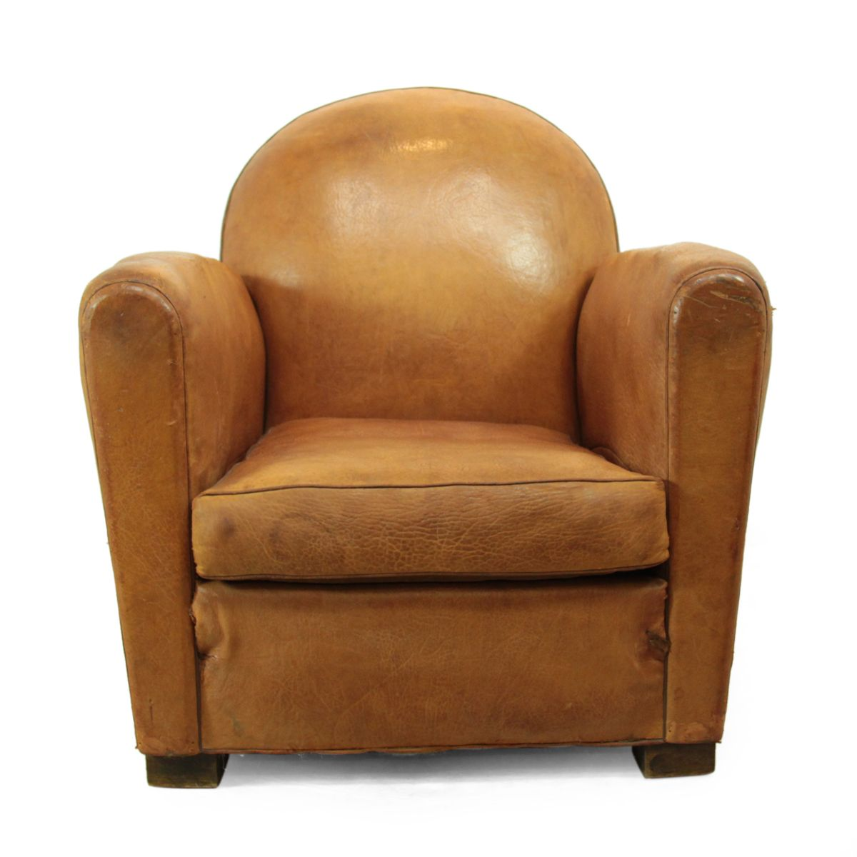vintage french brown leather club chair 1930s for sale at pamono. Black Bedroom Furniture Sets. Home Design Ideas