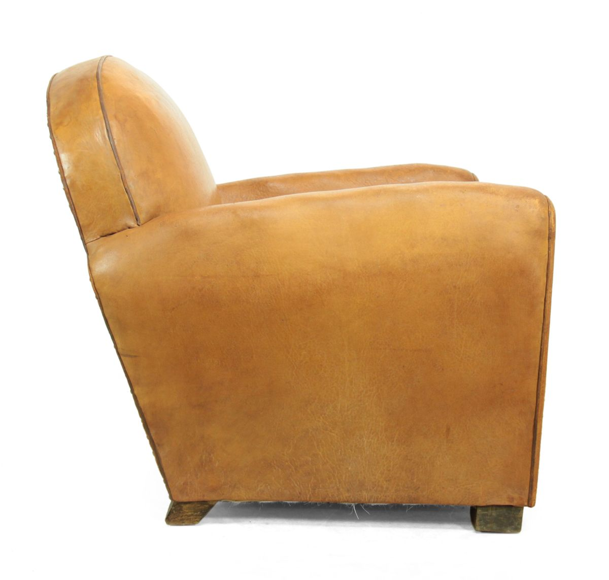 Vintage French Brown Leather Club Chair 1930s for sale at