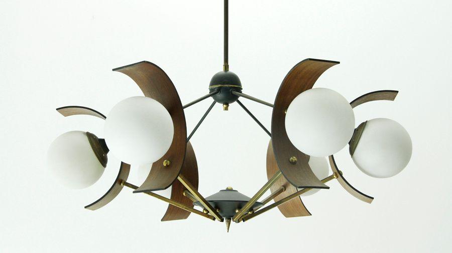 Italienische mid century pendellampe mit sechs leuchten for Italienische leuchten
