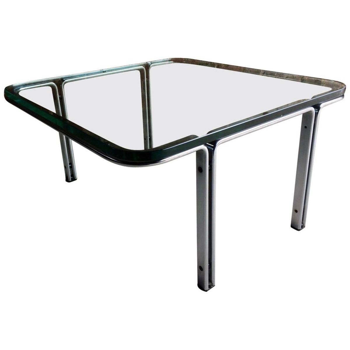 Model T111 Square Steel Glass Coffee Table By Horst Br Ning For Kill International 1960s For