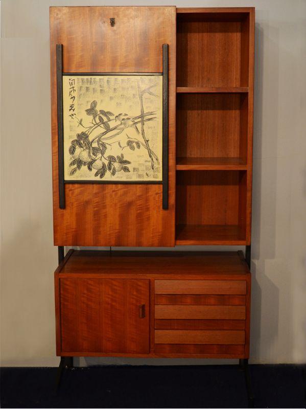 italienischer schrank mit schreibtisch 1950er bei pamono. Black Bedroom Furniture Sets. Home Design Ideas