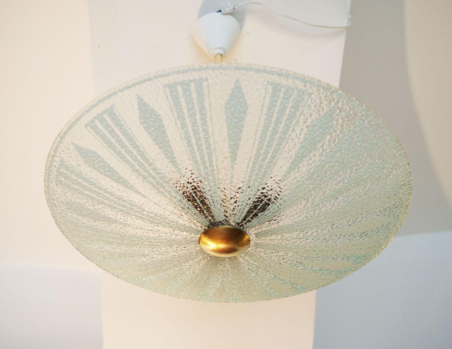 Mid century deckenleuchte aus texturiertem glas bei pamono for Deckenleuchte glas