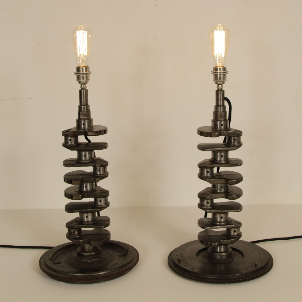French Industrial Crankshaft Table Lamps, Set Of 2 For