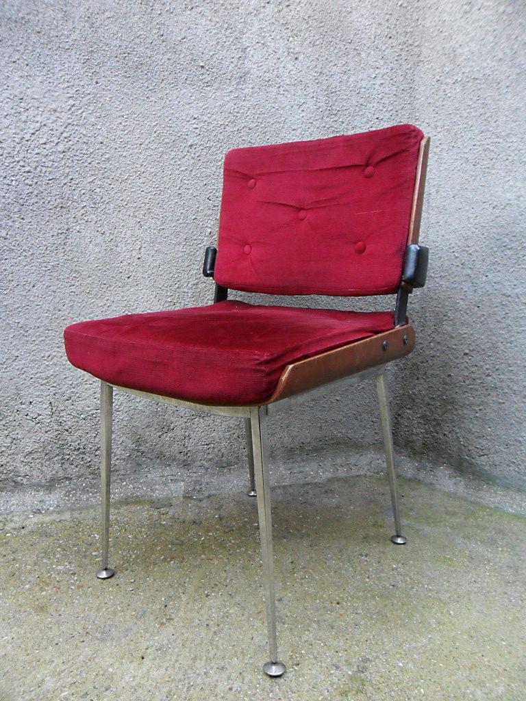 roter samt stuhl von alain richard bei pamono kaufen. Black Bedroom Furniture Sets. Home Design Ideas