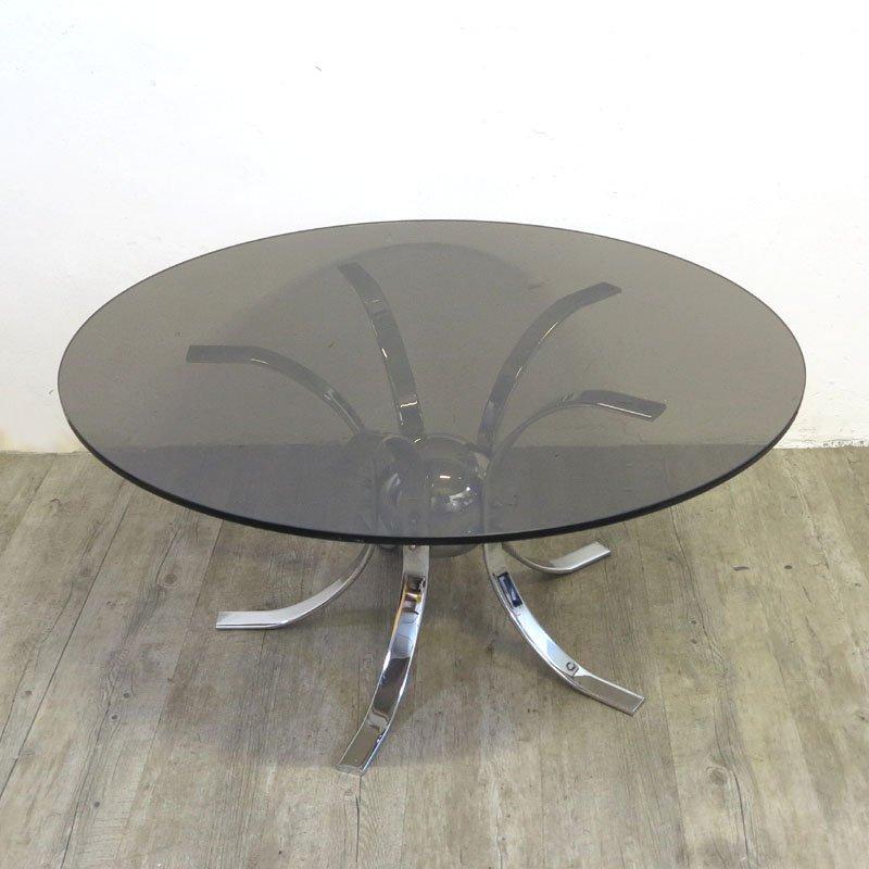 Vintage Chrome U0026 Smoked Glass Table, 1960s