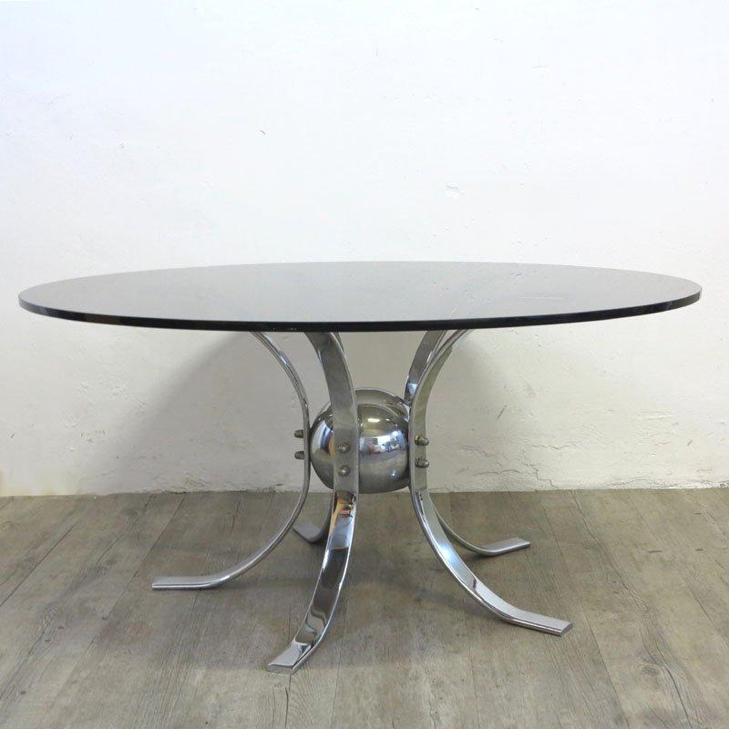 vintage tisch aus chrom rauchglas 1960er bei pamono kaufen. Black Bedroom Furniture Sets. Home Design Ideas