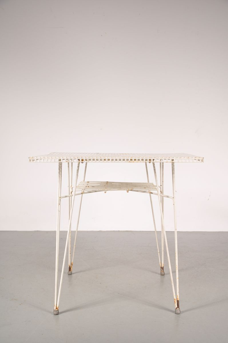 White perforated metal dining table 1950s for sale at pamono - White metal dining table ...