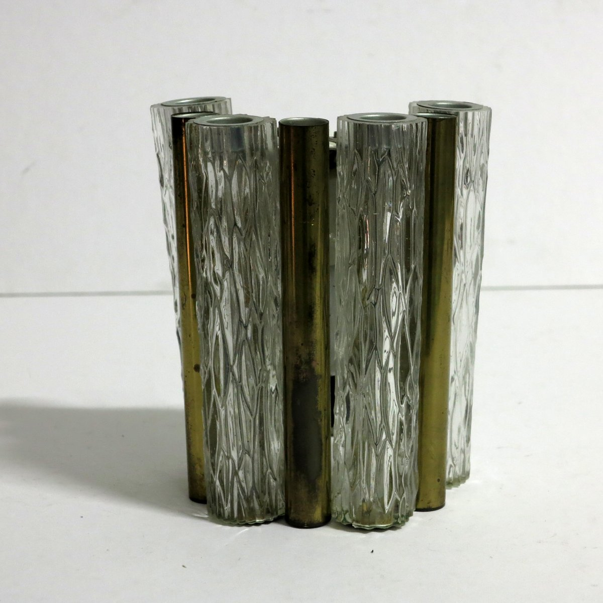 Brass and Glass Wall Lamp from Kaiser Leuchten, 1960s for sale at Pamono