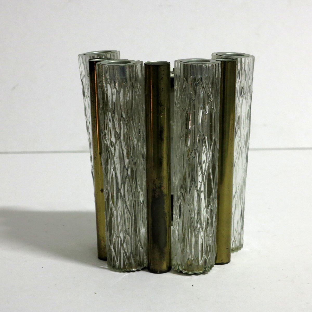 wandlampe aus messing glas von kaiser leuchten 1960er. Black Bedroom Furniture Sets. Home Design Ideas