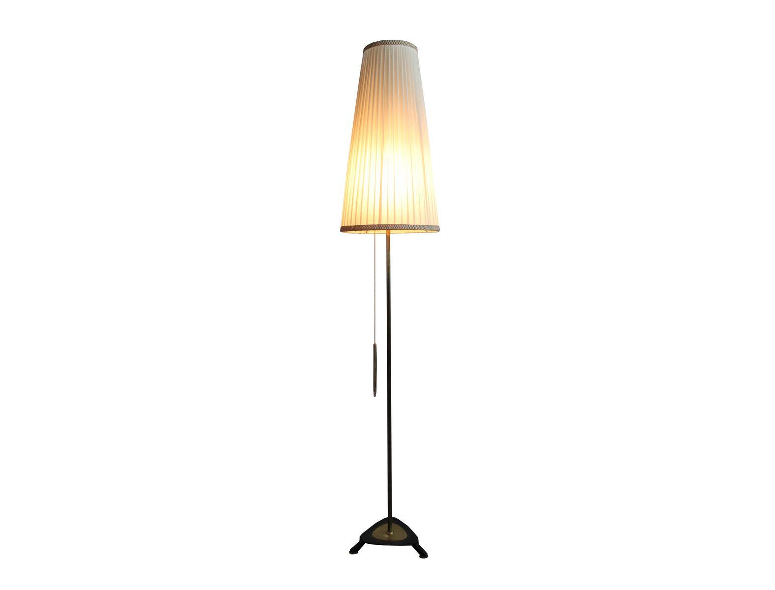 stehlampe mit plissiertem lampenschirm 1950er bei pamono kaufen. Black Bedroom Furniture Sets. Home Design Ideas