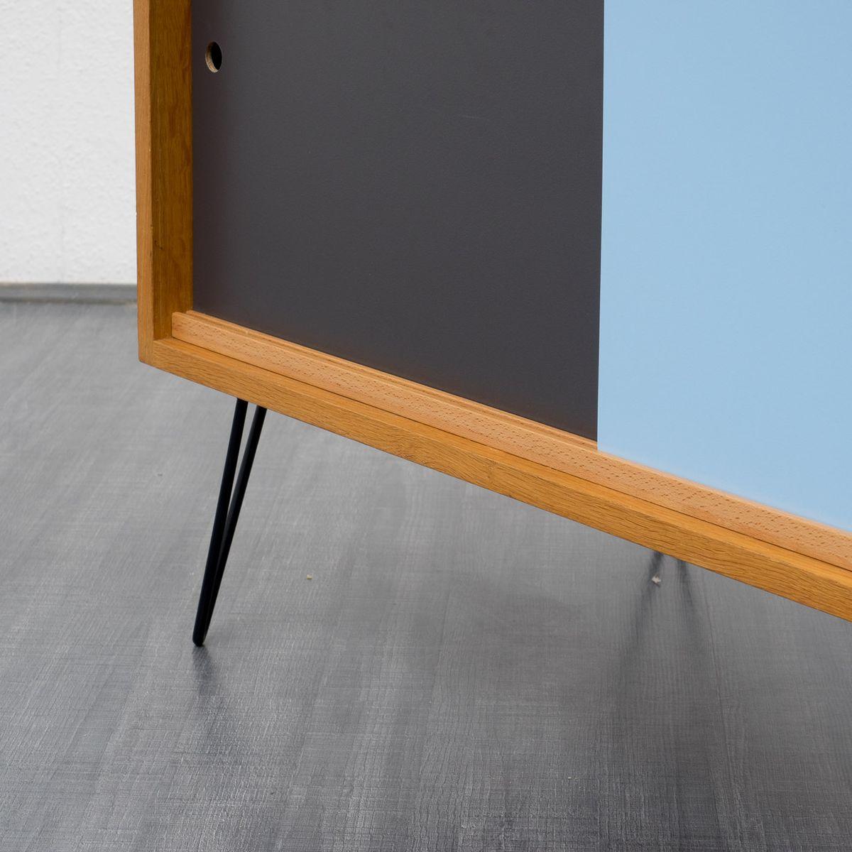 vintage eichenholz sideboard mit farbigen schrankt ren bei pamono kaufen. Black Bedroom Furniture Sets. Home Design Ideas