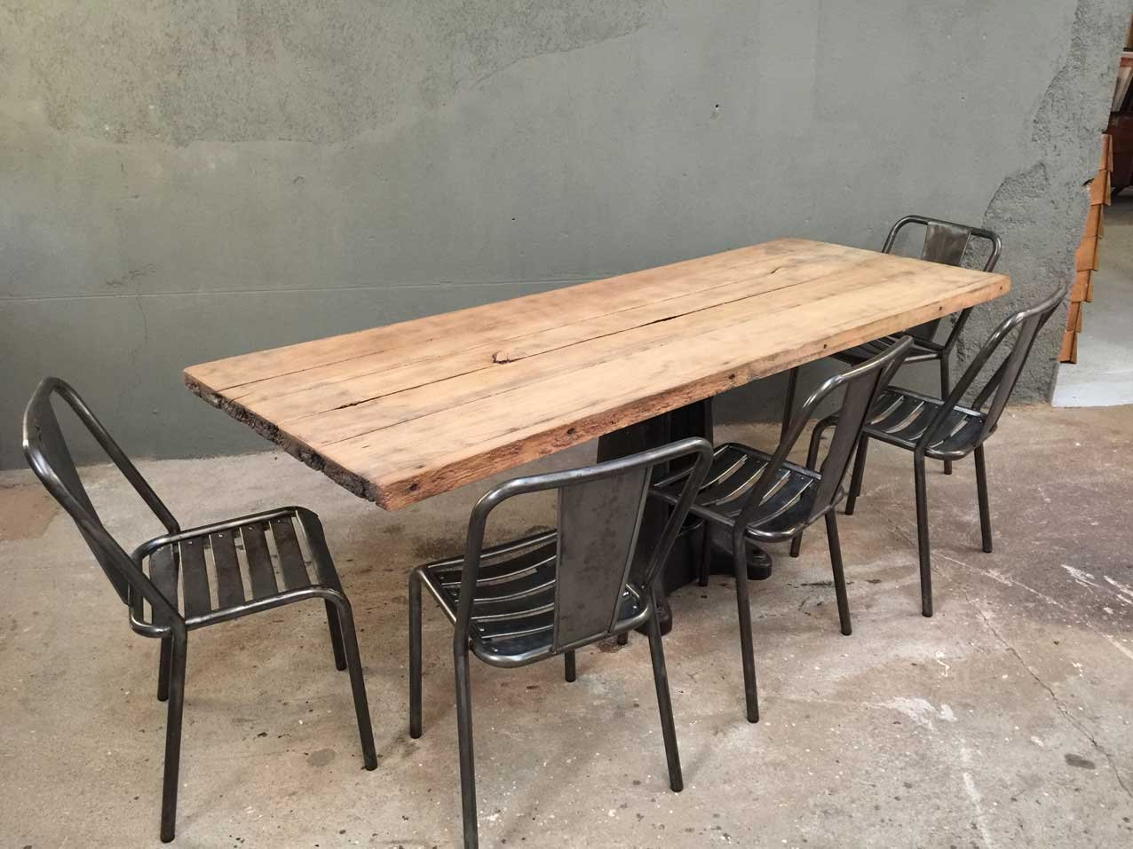Vintage industrial dining table for sale at pamono - Table industrielle rallonge ...