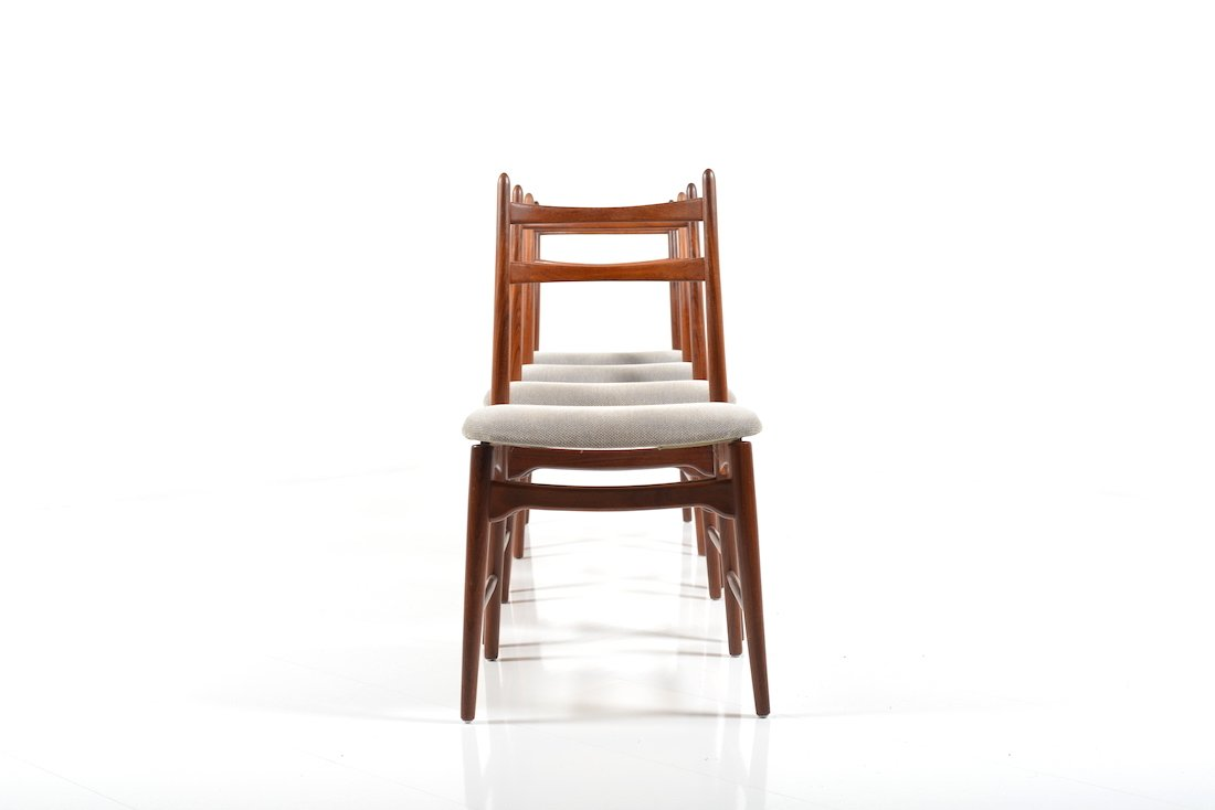 mid century danish teak dining chairs set of 4 for sale
