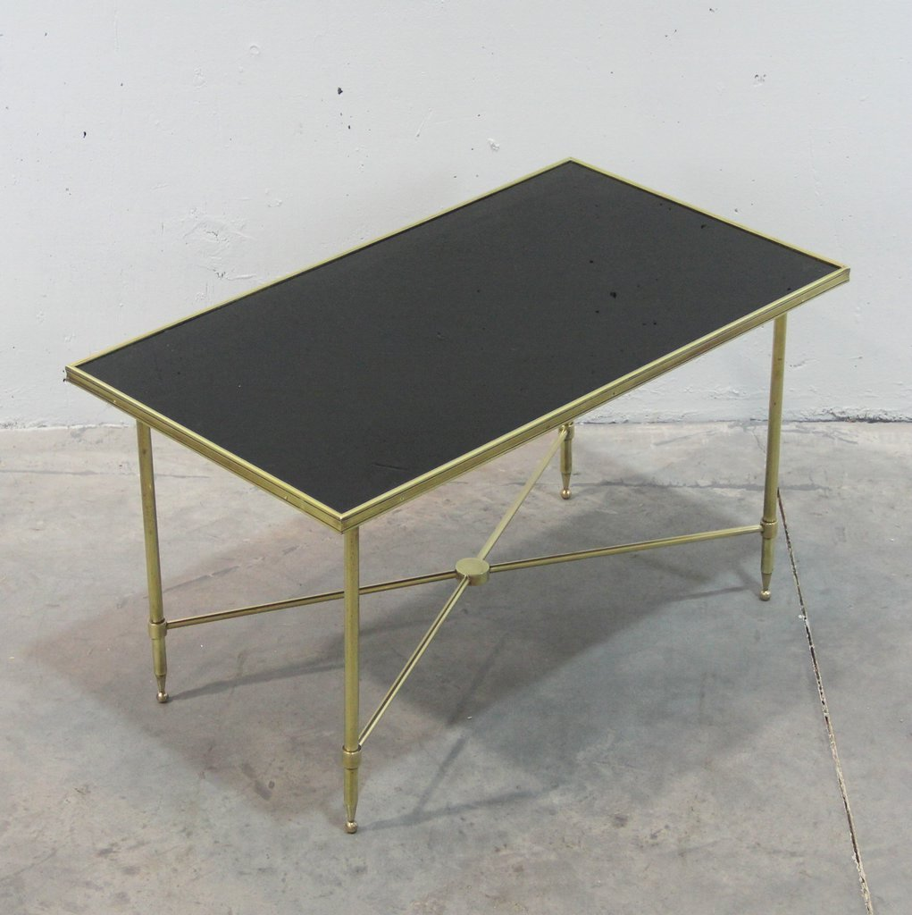 French brass and black glass coffee table 1940s for sale for Coffee tables black glass