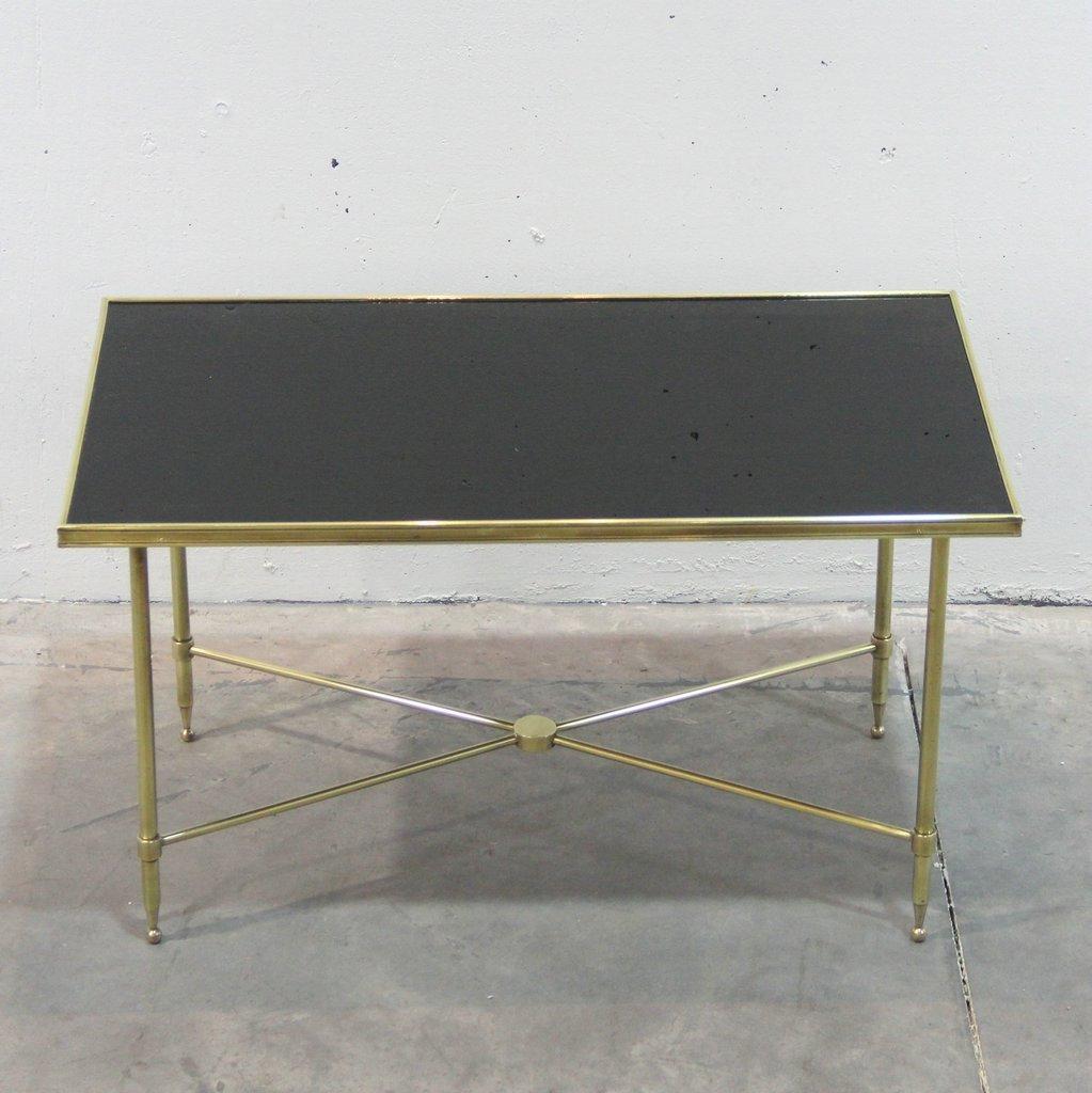 franz sischer messing und schwarzer glas couchtisch 1940er bei pamono kaufen. Black Bedroom Furniture Sets. Home Design Ideas