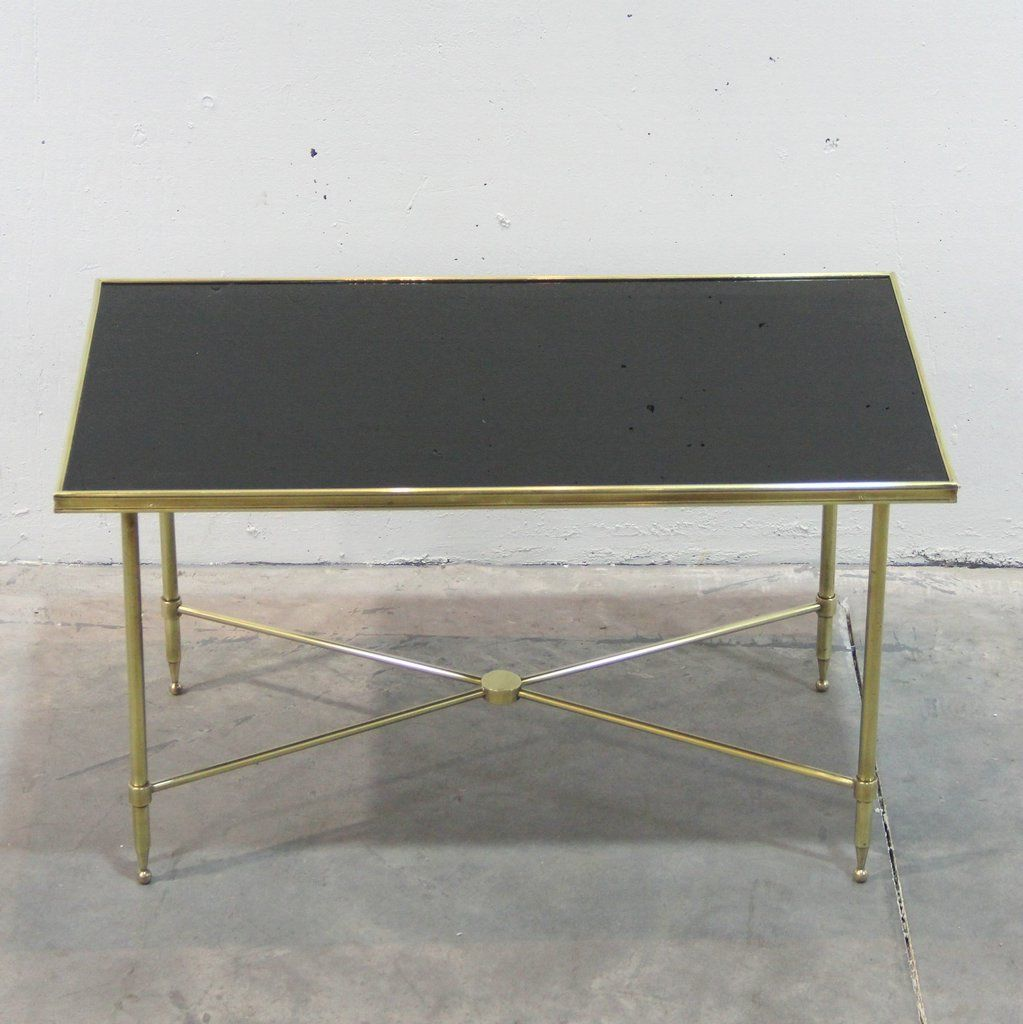 French Brass And Black Glass Coffee Table, 1940s For Sale At Pamono