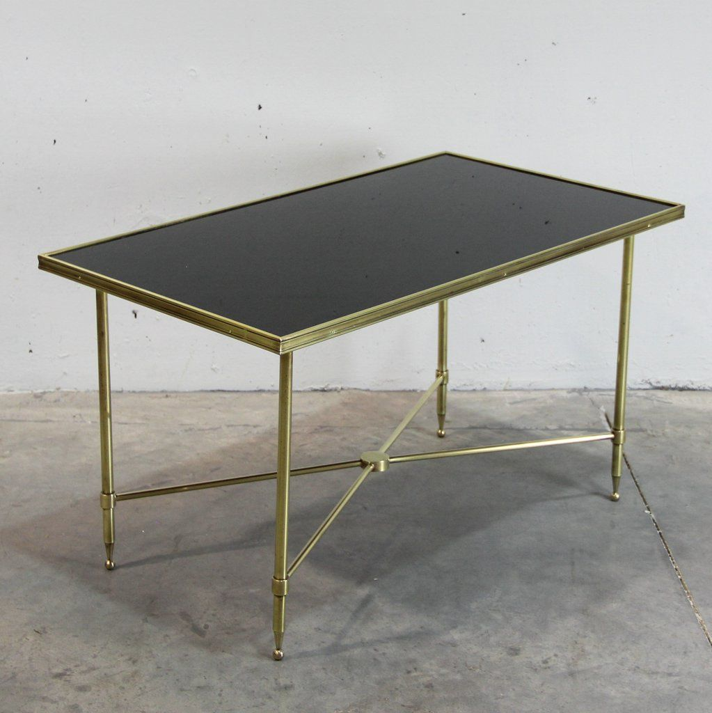 French Brass And Black Glass Coffee Table 1940s For Sale At Pamono