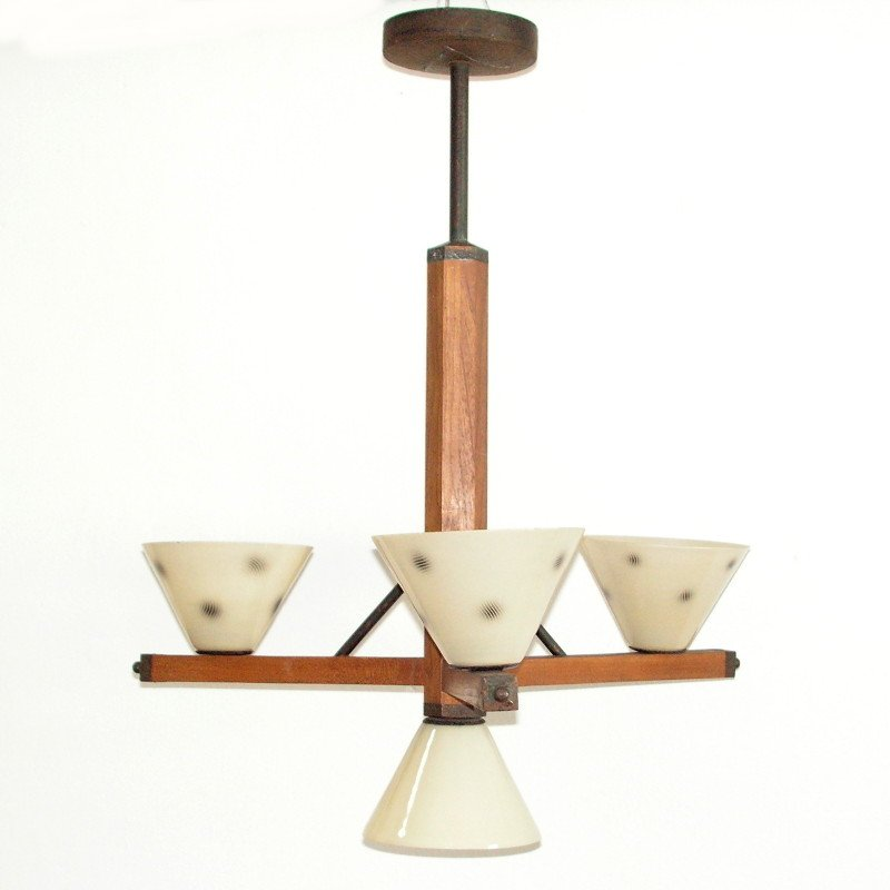 art deco lamp with 4 glass shades 1930s for sale at pamono. Black Bedroom Furniture Sets. Home Design Ideas