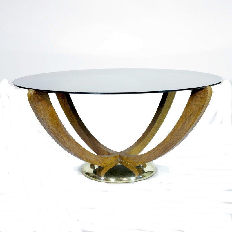 Art Deco Couchtisch mit Schwarzer Glas Tischplatte, 1930er