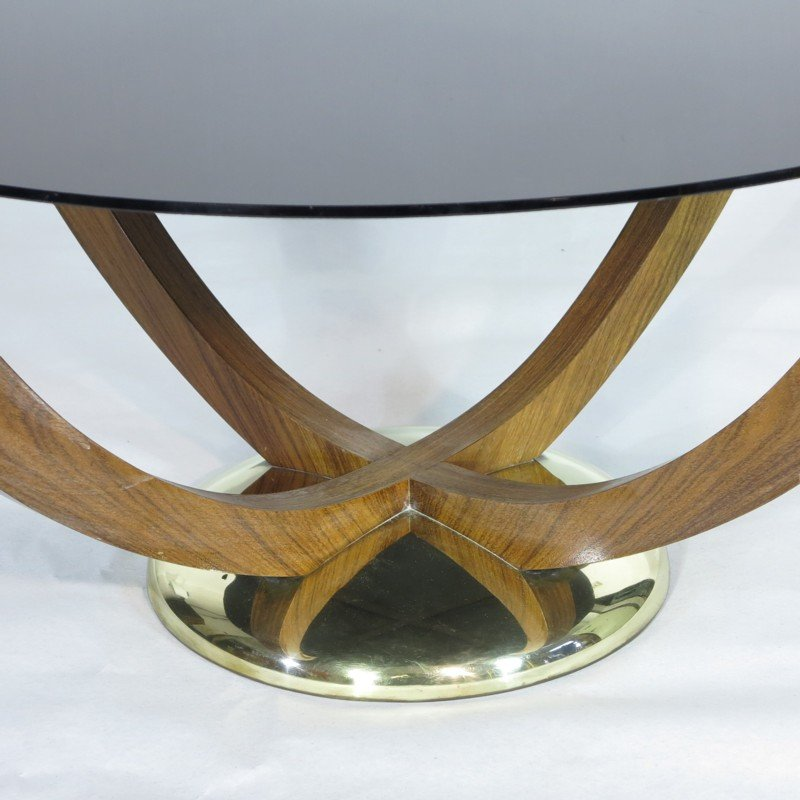 Art Deco Coffee Table With Black Glass Top, 1930s