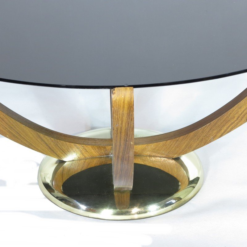 Art Deco Coffee Table with Black Glass Top, 1930s for sale