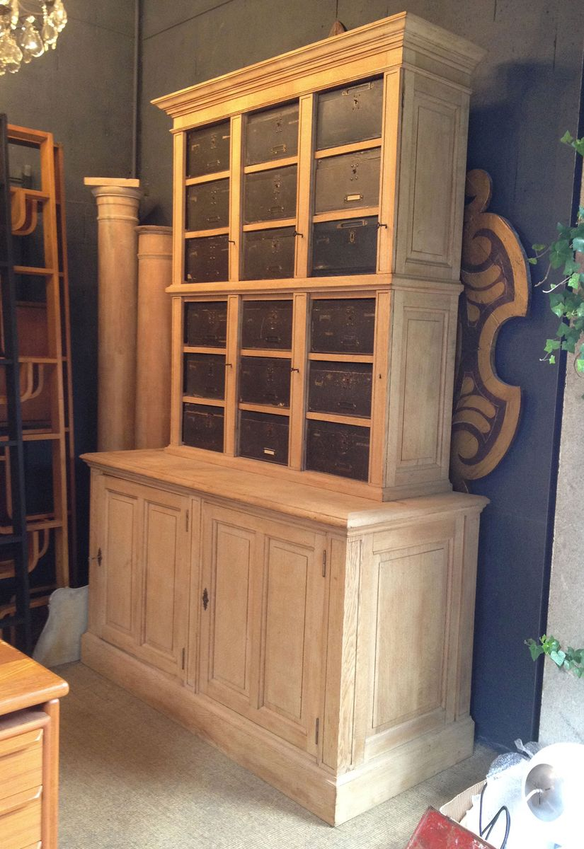 Solid oak two part cabinet 1940 for sale at pamono for 1940s kitchen cabinets for sale