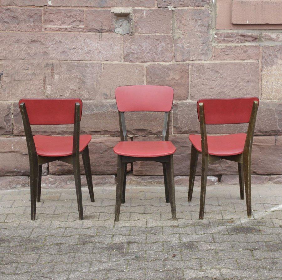 franz sische st hle aus holz und skai 1960 3er set bei pamono kaufen. Black Bedroom Furniture Sets. Home Design Ideas