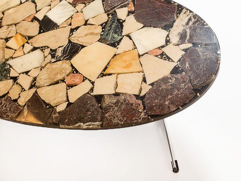 Vintage Couchtisch mit Naturstein Tischplatte bei Pamono