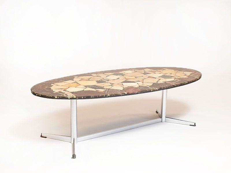 Vintage Coffee Table With Natural Stone Top For Sale At Pamono